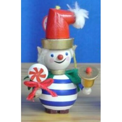 Steinbach Striped Twinkle the Elf with Bell German Wood Christmas Ornament