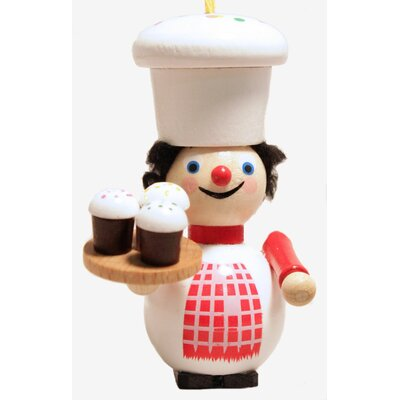 Steinbach Cupcake Maker with Cupcakes German Wooden Christmas Ornament