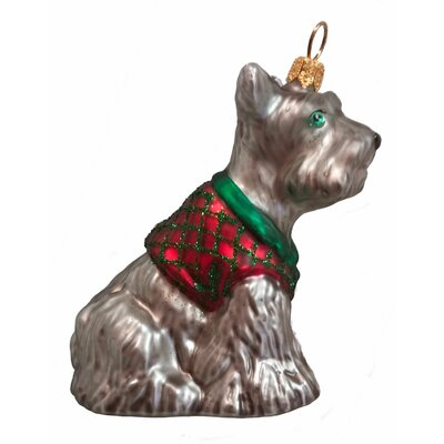 Schnauzer Wearing A Sweater Polish Mouth Blown Glass Christmas Ornament PPT-155-0004