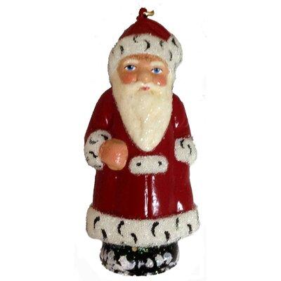 Coat Santa with Beaded Trim Paper Mache Christmas Ornament PPT-009-0008