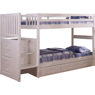 Springside Twin over Twin Bunk Bed with Storage Color: White