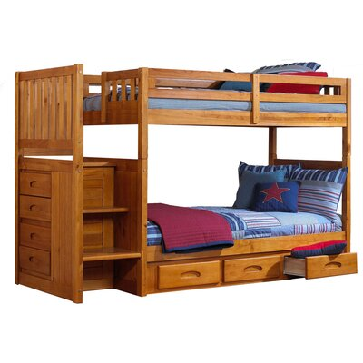 Springside Twin Bunk Bed with Storage Finish: Honey
