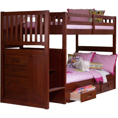 Springside Twin over Twin Bunk Bed with Storage Color: Merlot