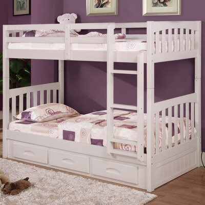 Braeburn Twin over Twin Bunk with Built-In Storage Drawers Color: White