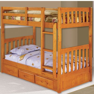 Braeburn Twin over Twin Bunk with Built-In Storage Drawers Color: Honey