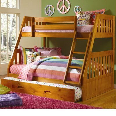 Stanford Twin Over Full Bunk Bed with Twin Slide-out Trundle Color: Honey