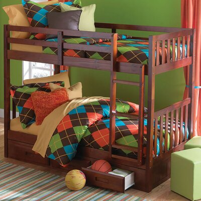 Braeburn Twin/Twin Bunk with Built-In Storage Drawers Finish: Merlot