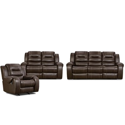Daigre 3 Piece Living Room Set Upholstery: Umber