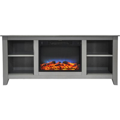 Brook Hollow LED Electric Fireplace TV Stand Finish: Gray