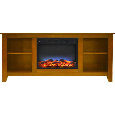 Brook Hollow LED Electric Fireplace TV Stand Finish: Teak
