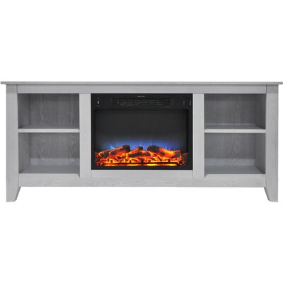 Brook Hollow LED Electric Fireplace TV Stand Finish: White
