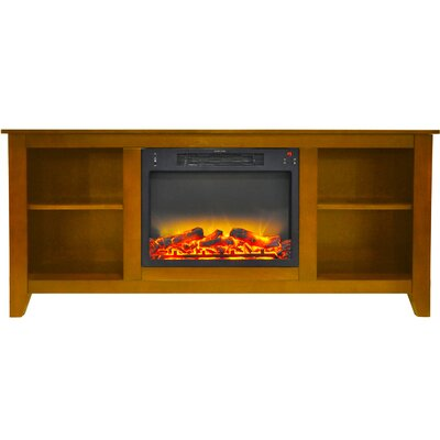 Brook Hollow Modern Fireplace TV Stand Finish: Teak