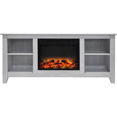 Brook Hollow Modern Fireplace TV Stand Finish: White