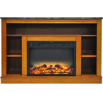 Eudora Modern Electric Fireplace TV Stand Finish: Teak