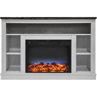 Eudora LED Electric Fireplace TV Stand Finish: White