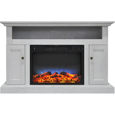 Broncho 48 TV Stand with LED Fireplace Finish: White