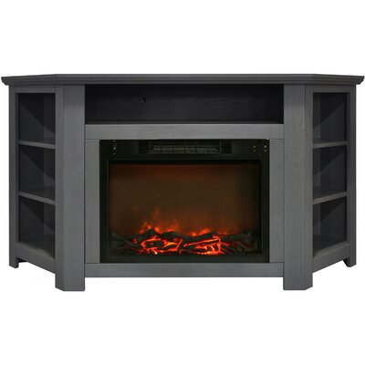 Cesar Modern TV Stand with Electric Fireplace Finish: Gray