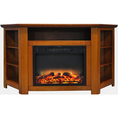 Cesar Electric Fireplace TV Stand Finish: Teak