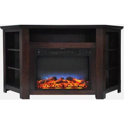 Cesar LED Electric Fireplace TV Stand Finish: Mahogany