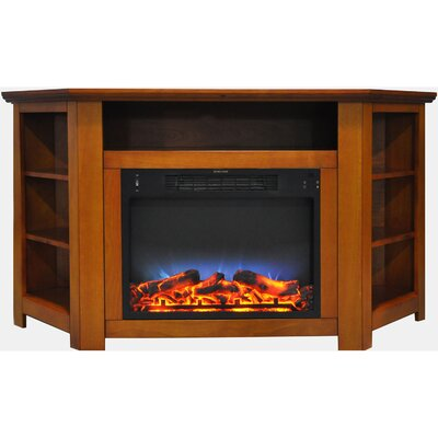 Cesar LED Electric Fireplace TV Stand Finish: Teak