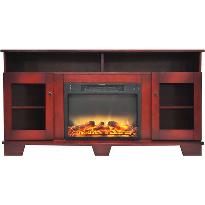 Ackermanville Modern Electric Fireplace TV Stand Finish: Cherry