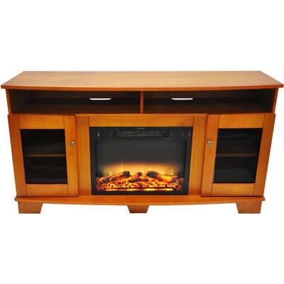 Ackermanville Modern Electric Fireplace TV Stand Finish: Teak