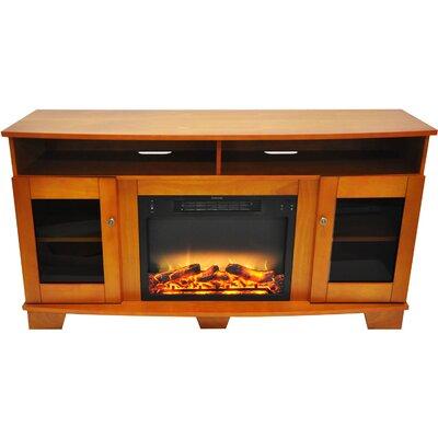 Ackermanville Modern Electric Fireplace TV Stand Finish: Teak