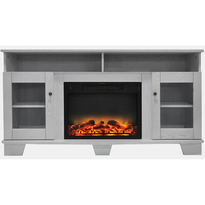 Ackermanville Modern Electric Fireplace TV Stand Finish: White