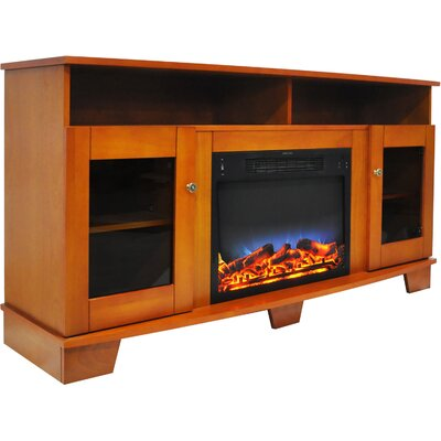 Ackermanville 59 TV Stand with Electric Fireplace Finish: Teak