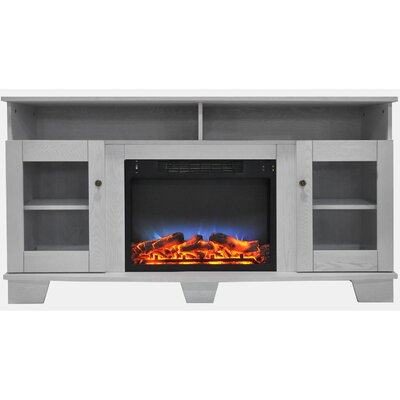 Ackermanville 59 TV Stand with Electric Fireplace Finish: White