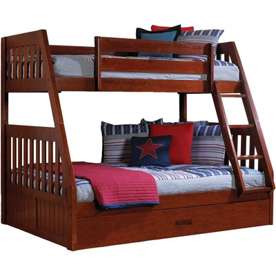 Stanford Twin Over Full Bunk Bed with Twin Slide-out Trundle Color: Merlot