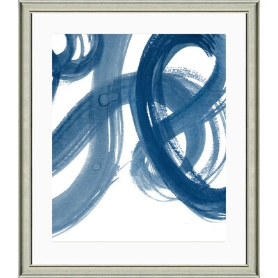 'Navy Brushstroke I' Framed Watercolor Painting Print