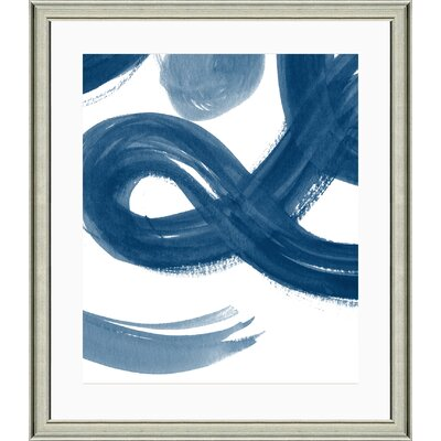 'Navy Brushstroke II' Framed Watercolor Painting Print