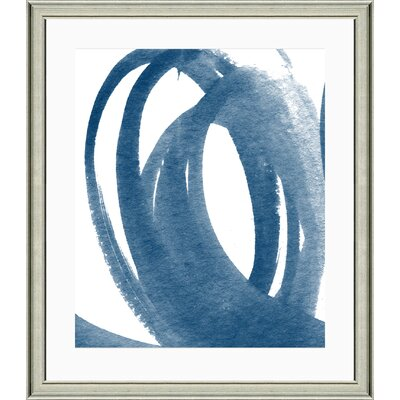 'Navy Brushstroke III' Framed Watercolor Painting Print