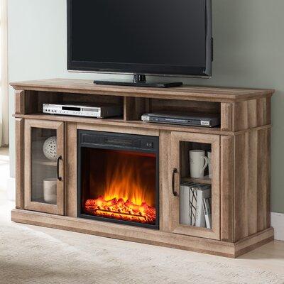 Morita Media Center 60 TV Stand with Fireplace Color : Oak