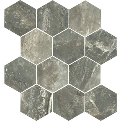 Anthology 14 x 15 Porcelain Mosaic Tile in Antracite