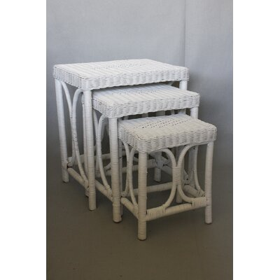 Svetlana Wicker 3 Piece Nesting Tables Color: White