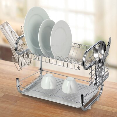 Modern Stainless Steel 2-Tier Drying Dish Rack and Draining Board