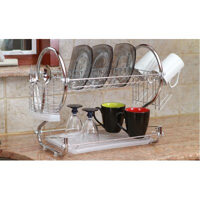 Modern Stainless Steel 2-Tier Drying Dish Rack and Draining Board DD10015