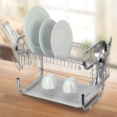 Modern Stainless Steel 2-Tier Drying Dish Rack and Draining Board DD10110