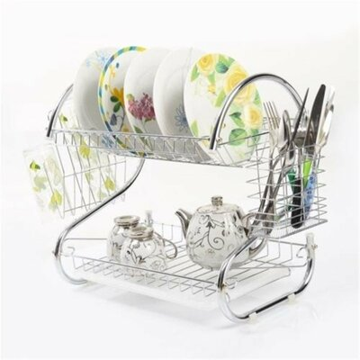 Modern Stainless Steel 2-Tier Drying Dish Rack and Draining Board DD10107