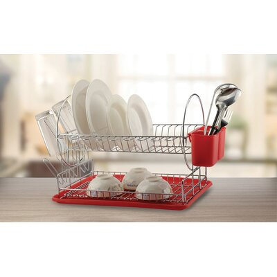 Deluxe 2-Tier Dish Rack Finish: Red