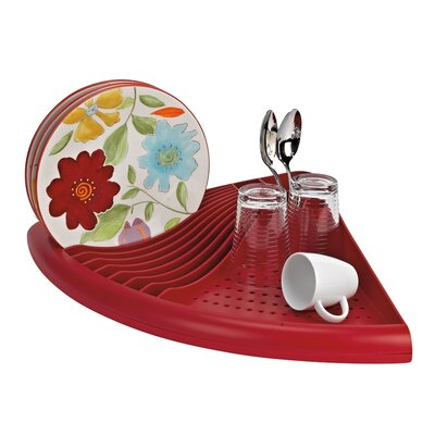 3-in-1 Space Saving Corner Dish Drainer Finish: Red