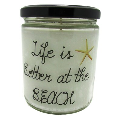 "Life is Better at the Beach"" Ocean Breeze Jar Candle QJBEACHOB"