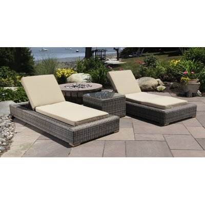 Corsica 3 Piece Chaise Lounge Set with Cushion