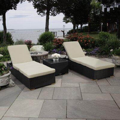 Salina 3 Piece Chaise Lounge Chair Set with Cushion
