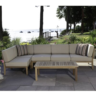 Bali Teak 6 Piece Sectional Seating Group with Cushions