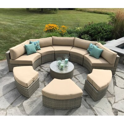 Santorini 9 Piece Deep Seating Group with Cushion
