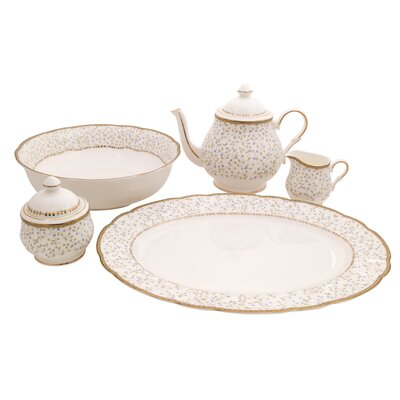 Flores Bone China Traditional Serving 5 Piece Place Setting, Service for 1 Flores-TS