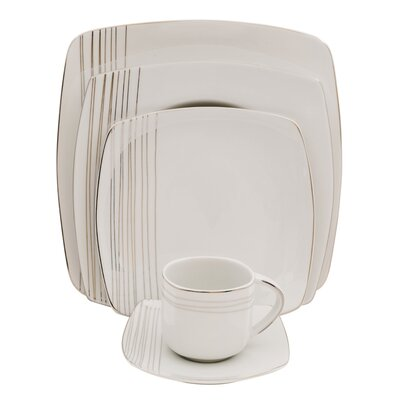Shinepukur Ceramics USA, Inc. Cirencester Square Fine China 5 Piece Place Setting, Service for 1 (Set of 4) 25774 PL PS